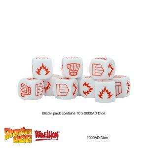 2000AD Combat dice for Judge Dredd and Strontium Dog miniatures games