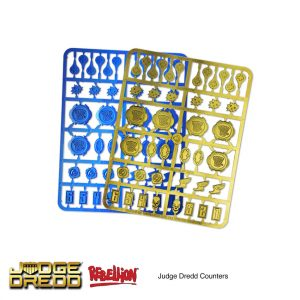 Judge Dredd Miniatures game tokens and counters